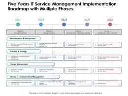 Five Years IT Service Management Implementation Roadmap With Multiple Phases