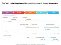 Five Years Product Branding And Marketing Roadmap With Channel Management