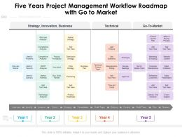 Five Years Project Management Workflow Roadmap With Go To Market