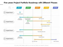 Five Years Project Portfolio Roadmap With Different Phases
