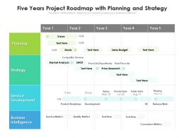 Five Years Project Roadmap With Planning And Strategy