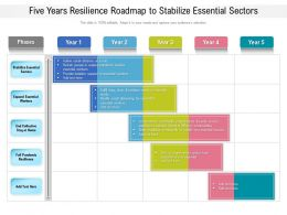 Five Years Resilience Roadmap To Stabilize Essential Sectors