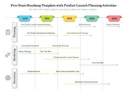 Five Years Roadmap Template With Product Launch Planning Activities