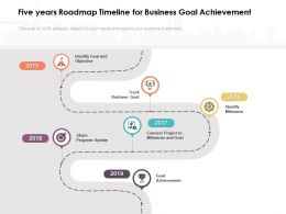 Five Years Roadmap Timeline For Business Goal Achievement