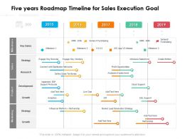 Five Years Roadmap Timeline For Sales Execution Goal