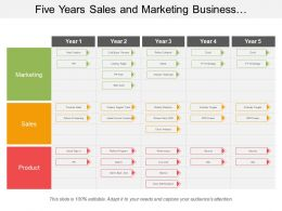Five Years Sales And Marketing Business Development Swimlane