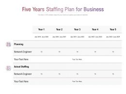 Five Years Staffing Plan For Business