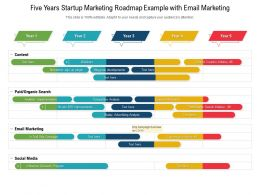Five Years Startup Marketing Roadmap Example With Email Marketing