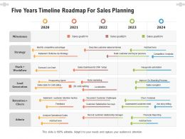 Five Years Timeline Roadmap For Sales Planning