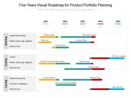 Five Years Visual Roadmap For Product Portfolio Planning