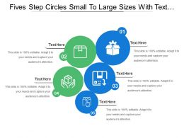 Fives Step Circles Small To Large Sizes With Text Holders And Icons