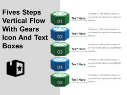 Fives Steps Vertical Flow With Gears Icon And Text Boxes