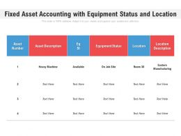 Fixed Asset Accounting With Equipment Status And Location