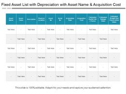 Fixed Asset List With Depreciation With Asset Name And Acquisition Cost
