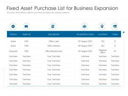 Fixed Asset Purchase List For Business Expansion