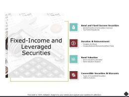 Fixed Income And Leveraged Securities Bond Valuation Ppt Powerpoint Presentation