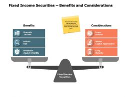 Fixed Income Securities Benefits And Considerations A549 Ppt Powerpoint Presentation Slides Icon