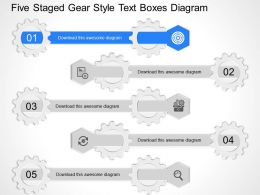 fj Five Staged Gear Style Text Boxes Diagram Powerpoint Template