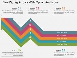 Fj Five Zigzag Arrows With Option And Icons Flat Powerpoint Design