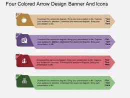 Fj Four Colored Arrow Design Banner And Icons Flat Powerpoint Design