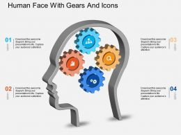 Fj Human Face With Gears And Icons Powerpoint Template