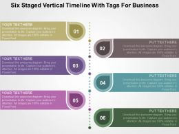 Fj Six Staged Vertical Timeline With Tags For Business Flat Powerpoint Design