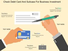 fk Check Debit Card And Suitcase For Business Investment Flat Powerpoint Design