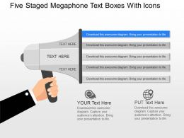 fk Five Staged Megaphone Text Boxes With Icons Powerpoint Template