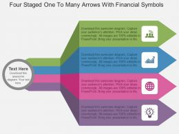 Fk Four Staged One To Many Arrows With Financial Symbols Flat Powerpoint Design