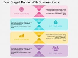 Fl Four Staged Banner With Business Icons Flat Powerpoint Design