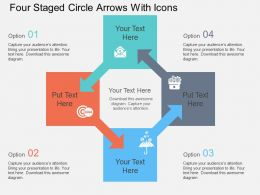 Fl Four Staged Circle Arrows With Icons Flat Powerpoint Design
