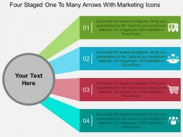 Fl Four Staged One To Many Arrows With Marketing Icons Flat Powerpoint Design