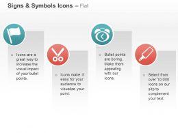 Flag Alarm Clock Scissor Service Tools Ppt Icons Graphics