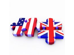 Flag Designed Puzzles For America And Uk Stock Photo