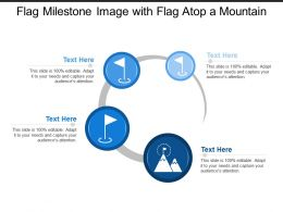 Flag Milestone Image With Flag Atop A Mountain