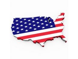 Flag Of America In Map Style Stock Photo