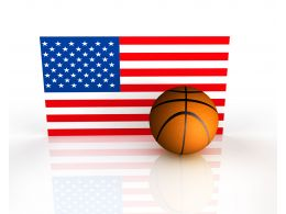 Flag Of America With Basketball Stock Photo