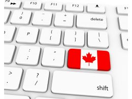 Flag Of Canada On Keyboard Key Stock Photo