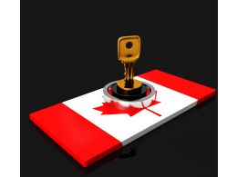 Flag Of Canada With Key And Lock Stock Photo