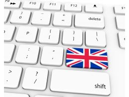 Flag Of England On Key Of Keyboard Stock Photo