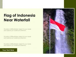 Flag Of Indonesia Near Waterfall