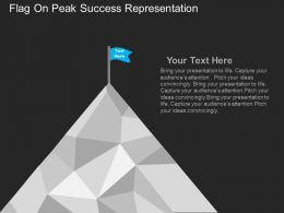 Flag On Peak Success Representation Flat Powerpoint Design