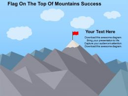Flag On The Top Of Mountains Success Flat Powerpoint Design