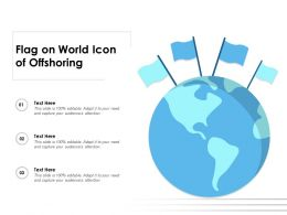 Flag On World Icon Of Offshoring