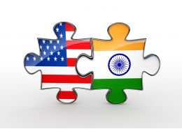 Flag Puzzles Of India And America Displaying Relationship Of Countries Stock Photo