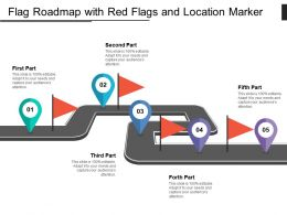 Flag Roadmap With Red Flags And Location Marker