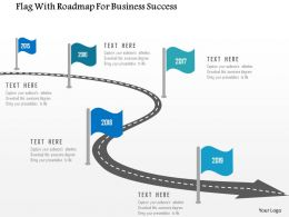 Flag With Roadmap For Business Success Flat Powerpoint Design