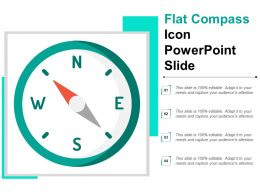 Flat Compass Icon Powerpoint Slide