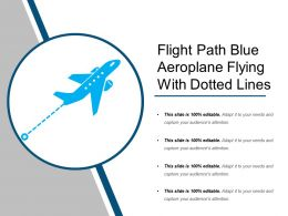 Flight Path Blue Aeroplane Flying With Dotted Lines