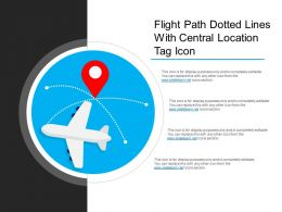 Flight Path Dotted Lines With Central Location Tag Icon